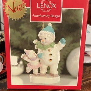 "Lenox Xmas ornament ""snowman adult and child"""